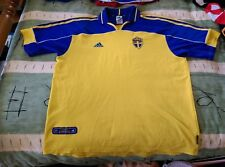 Sweden Home Football Jersey 2000 to 2001 Extra Large Adult adidas Euro 2002 XL