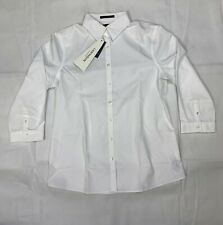 Lands End Women's No Iron Supima Cotton 3/4 Sleeve Dress Shirt White 461376