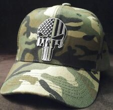 The Punisher USA Flag Camouflage Baseball Cap Military green line hat