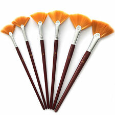 6 Set Fan Bristle Paint Brush - Oil Acrylic Artist Watercolor #2, 4, 6, 8, 10,12
