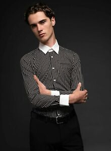 Mens Striped Mod White Collar Retro Rock n Roll Shirt by Phix