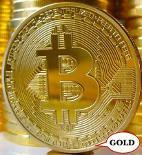 Bitcoin Commemorative Round Collectors Physical Coin Bit Coin Gold Plated Copper