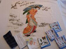 Lot Vintage Geisha Silk Scarf + Handkerchief ABC's Insect Hazma Kamakura Japan