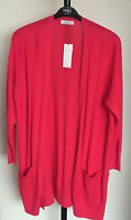 Ladies M&S Per Una Size 22 Bright Red Long Sleeve Textured Cardigan with Wool