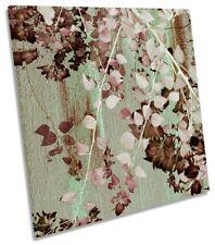 Pared De Lona Floral Rosado Árbol Hojas ilustraciones Cuadrado Art Print
