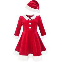 Sunny Fashion Robe Fille Noël Chapeau Rouge Velours Longue Manche Vacances