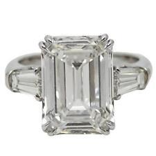 GIA Certified 5.00 Carat 3 Stone Emerald Cut Diamond Engagement Ring Platinum