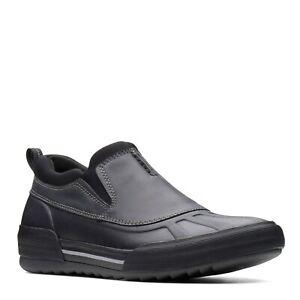 Men Clarks Bowman Free Black Leather Shoes Waterproof Rain Shoes 261 38399