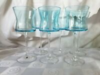 6 Artland Crystal Soho Turquoise Water Wine Goblets Stems Glasses Hourglass Blue
