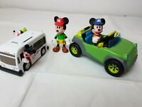 Disney Mickey Mouse Figures Car & Bus Bundle FAST FREE SHIPMENT