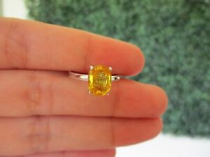 2.17 Carat Yellow Sapphire Ring 18k White Gold R160 sep