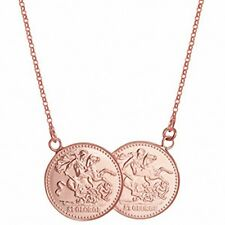 """Full Sovereign Necklace Solid Sterling Silver Rose Gold Plated Pendant 17 """""""