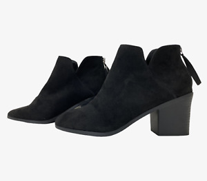 NEW LOOK Ladies Womens Boots Size UK 7 Eu 40 Black Ankle Wide Fit Boots