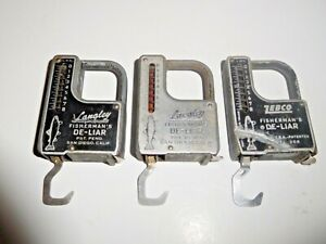 """<>Vintage Lot Of  """"3""""  Zebco & Langley De-Liar Fish Weighing Scales & Measure<>"""