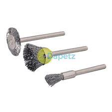 3Pc Metal Polishing Steel Wire Brush Set Dremel Rotary Tool Polish Clean Wheel