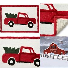 Red Pickup Truck Bathroom Rug Mat Winter Wonder Lane Christmas Shower Holiday