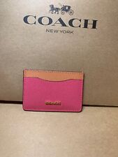 Coach Flat Leather Card Case Pink Ruby Multi Orange New F68620