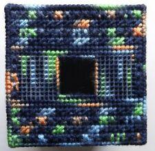 TISSUE BOX COVER HANDMADE DARK BLUE/ORANGE/GREEN DESIGN