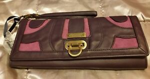 Authentic Pursonality (Mimi) clutch bag -purple with pink suede- wrist strap☆