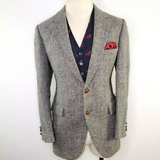 Harris Tweed Suit Blazer Jacket Coat Men 42S Houndstooth Downton Smoking Vintage