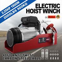 2000 LB Electric Hoist Winch Hoist Crane Lift 110 V 50 Hz Trolley 40 ft (12 m)