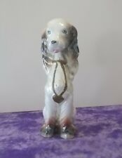 Tall Sitting White Spaniel Type Dog Figurine made in Japan