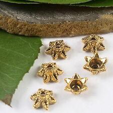 50pcs dark gold tone flower design bead caps h2113