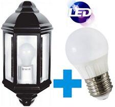 LED Caspian Half Lantern 8W Bulb Black Garden Wall Mounted IP44 PIR Sensor