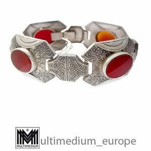 Art Deco Designer Armband Silber Karneol Ornament silver bracelet 🌺🌺🌺🌺🌺