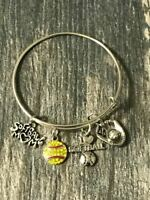 Softball Mom Charm Bangle Bracelet- Softball Jewelry Gift for Women