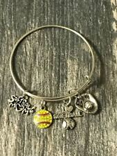 Softball Mom Charm Bangle Bracelet- Softball Jewelry Gift for Women