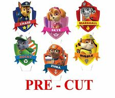 12 PAW PATROL STAND UP Edible Wafer Rice Paper Cupcake CAKE toppers Decor PRECUT