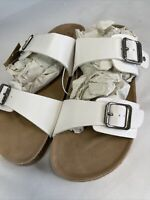 NWT Women's Mad Love Keava Footbed Buckle Summer Sandals WHITE US Size 10