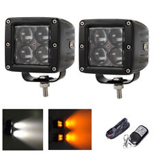 "2X 3"" White + Amber Dual Colors Strobe 4D LED Work Light Bar Remote Wiring Kits"