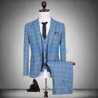 Fashion Men's suit pants vest 3 pieces plaid dress formal slim fit wedding coat