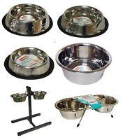 New Stainless Steel Non Slip DOG/CAT Feeding Bowls Dishwasher Safe - Free P&P