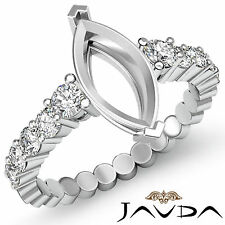 Diamond Engagement Marquise Semi Mount Shared Prong women's Ring Platinum 0.70Ct