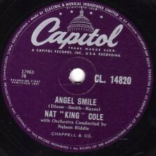 """RARE NAT KING COLE 78  """" BACK IN MY ARMS / ANGEL SMILE """" UK CAPITOL CL 14820 EX-"""