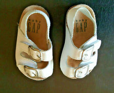 INFANT SHOES BABY GAP 2M Leather & Cork Sandals Footwear White GIRLS Retired