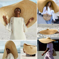 Unisex Solid Large Sun Hat Beach Anti-UV Sun Protection Foldable Straw Cap Cover