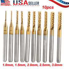 10Pcs End Mill Cemented Carbide CNC Titanium Coated Milling Cutters Tools 1-3mm