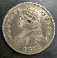 1812 Capped Bust Half Dollar 50c Fine F or Very Fine VF Details Ear Dent