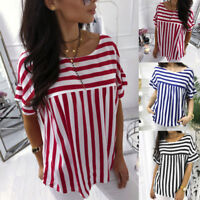 Women Summer Casual Striped O-Neck T Shirt Loose Short Sleeve Cotton Tops Blouse