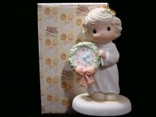 New ListingPrecious Moments-Girl Holding Clock/Wreath-Time For A Holy Holiday-Rare