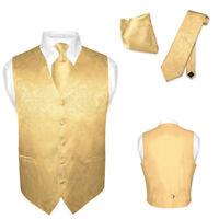 Men's Paisley Design Dress Vest & NeckTie GOLD Color Neck Tie Set for Suit Tux