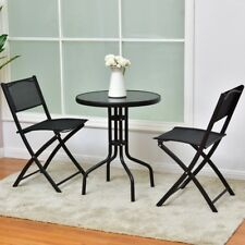 Outdoor Round Table & Folding Chairs Bistro Set Garden Patio Furniture 3 pcs Us