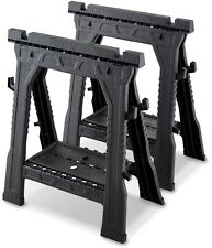 Saw Horse Black Plastic Workshop Heavy Duty Pair Portable Non-skid Folding Legs