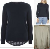 New Ex Dorothy Perkins Ladies Navy Cream Jumper Size 6 - 22 Lace Back