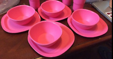 """Tupperware Legacy 1-3/4 Cup Pinch Bowls & 8"""" Luncheon Plates Set 8-pc Pink New"""
