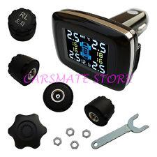 Wireless Car Cigarette Lighter TPMS Tire Pressure Monitoring System 4 Sensors